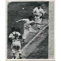 1949 Press Photo Eddie Yost Senators Out At 3rd By Floyd Baker White Sox MLB