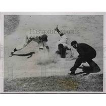 1938 Press Photo Red Sox Joe Cronin Slides in All-Star Game, McCormick at First