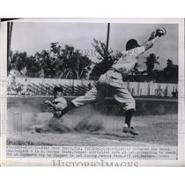 1950 Press Photo Dodger George Shuba Safe At First After Steal Attempt Past Fain