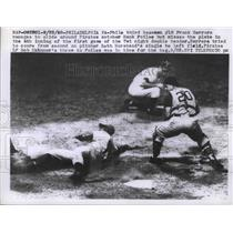 1958 Press Photo Phils Frank Herrera vs Pirates Hank Foiles at home plate