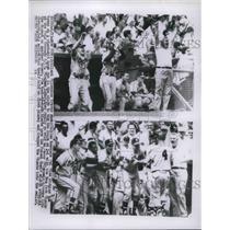 1956 Press Photo Milwaukee Cheer Del Rice Home Run, Danny O'Connell Home Run