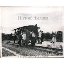 1955 Press Photo Vietnamese troops liberating a train car