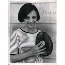 1966 Press Photo Julianne Rusnov with Baseball - nes00750