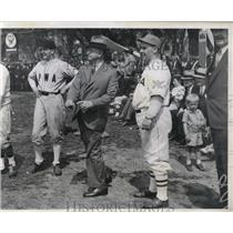 1934 Press Photo Ingam Mack, M. Tracey, Harold Ickes, Government League Baseball