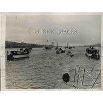 1939 Press Photo Crew Races, Harvard, Yale, New London Connecticut, Thames River
