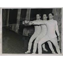 1937 Press Photo Robert Shaw, David Bell & John Johnston of the Navy Epee Team