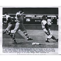 1956 Press Photo Jim Piersall Roy Sievers Padre Ramas Red Sox Senators Fenway