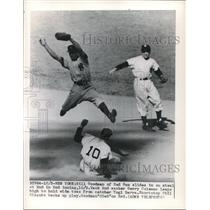 1949 Press Photo Bill Goodman, Red Sox, G. Coleman, P. Rizzuto, New York Yankees