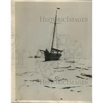 1919 Press Photo Yachts Marooned in Ice Pack on River Crouch