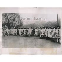 1935 Press Photo Ethiopian conscripts await transport to depots