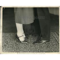 1925 Press Photo A man & a woman model dress shoes