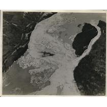 1924 Press Photo Airplane View of Ice Jam That Clogged the Platte River