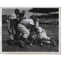 1950 Press Photo Jim Russell, Brooklyn Dodgers, Paul Minner, Chicago Cubs