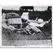 1953 Press Photo Port Washington, Wis, light plane wreckage after an explosion