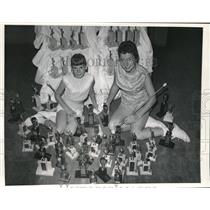 1958 Press Photo Kathleen Walkanoff & Pat Clack with 80 Trophies Baton Twirling