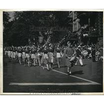 1943 Press PhotoWomen parade on St, Jean Baptiste Day in Montreal.