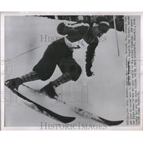 1952 Press Photo Olympic Slalom Race Won by Andrea Mead Lawrence, Oslo, Norway