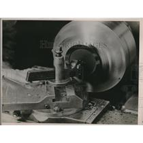 1937 Press Photo Turning plastic on a lathe