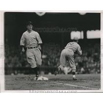 1937 Press Photo McQuinn of Newark Bears Out at First in Little World Series