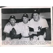 1949 Press Photo Casey Stengal , Billy Johnson & Johnny Lindell of Yankees
