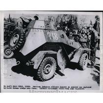 1950 Press Photo US Marines & Ordnance car in Korea - nem07253