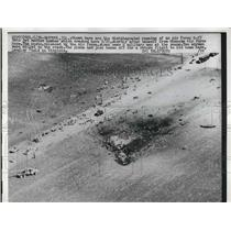 1958 Press Photo Aerial view of Pantoul, Ill bomber crash - nem05547