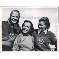 1950 Press Photo Aspen, Colo. FIS Ski meet, Dagmar Rom, Selina Seghi,