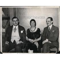 1932 Press Photo Bridge players Sir Danier J Wernker, Elizabeth B Barfield and