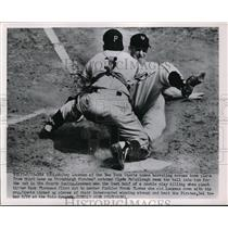 1951 Press Photo Whitey Lockman tries to score as Clyde McCullough tags him out