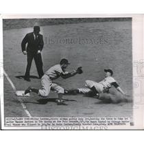 1951 Press Photo Cubs Ransom Jackson vs Giants Whitey Lockman slide to 3rd