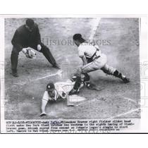 1954 Press Photo Andy Pafko Of Milwaukee Braves Slides Head First Under Tag