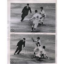 1951 Press Photo Yankees Joe Collins Steals 2nd In 1st Inning Vs Bob Avila