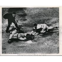 1951 Press Photo Yankee Gil McDougal slides home vs Les Moss Red Sox - nes17123