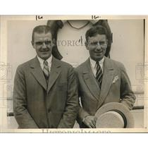 1925 Press Photo US Tennis Stars Raymond Casey and John Hennessey on SS Majestic