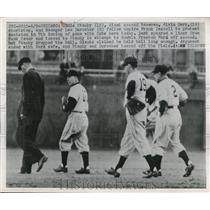 1950 Press Photo Giant Ed Stanky, Al Dark, mgr Leo Durocher & ump F Dascoli