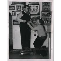 1937 Press Photo Francis Shanty Hoganm Senators catcher & Frank Baxter asst,