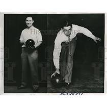 1936 Press Photo Charles Warren & John Murphy at Bowling World Championship