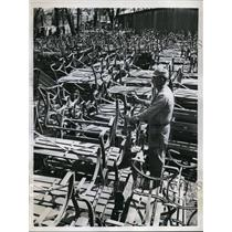 1959 Vintage Photo Man Has Task Painting 1,000 Benches Gage Park Topeka