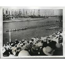 1933 Press Photo Yale Cornell and California race at Long Beach Marine Stadium