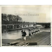 1931 Press Photo US Naval Academy Rowing Crew Report for First Practice
