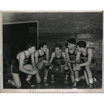 1940 Press Photo Georgetown U basketball Schmitt,Kiernan, Giebel, Rizzi,OGrady