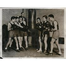 1934 Press Photo Coach G Decker, U of Pa boxing team, Petrolle, Bockman
