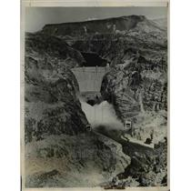 1937 Press Photo Water Pours From All Outlets Of Boulder Dam