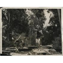 1931 Press Photo Young women fishing at Azusa Calif HS