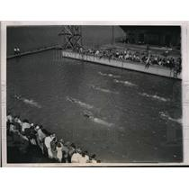 1937 Press Photo Ralph Flanagan Natl AAU swim in ChicAgo 1000,1320,1500 records