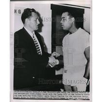 1950 Press Photo Pompton Lakes NJ Lee Savold & Joe Louis at training camp