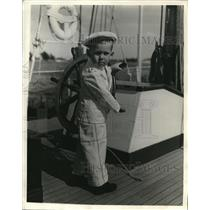 1936 Press Photo Dickie Harris Captains Sailing Yacht Athene in Miami Beach