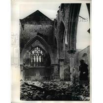 1940 Vintage Photo Bombed Out Ruins Church Southampton World War Ii