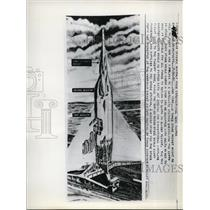 1955 Press Photo A 3 stage rocket might be used to ferry men and supplies to a