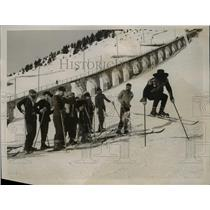 1929 Photo Helles Team Getting Jumping Start Murren Ski Championship